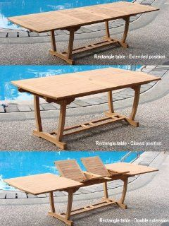 "Grade A Teak Wood Extra Large double extension 117"" Mas Rectangle Dining Table with Trestle Legs Patio, Lawn & Garden"
