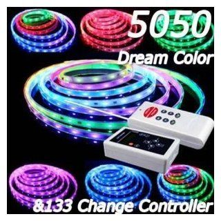 XKTTSUEERCRR 5M 5050 RGB Dream color 6803 IC LED Strip Light Waterproof & 133 Change RF Remote   Led Chasing Lights