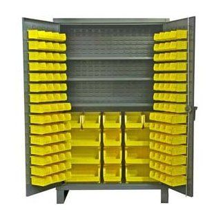 "Durham Extra Heavy Duty Welded 12 Gauge Steel Cabinet With 134 Bins, HDC48 134 3S95,  1200 lbs Shelf Capacity,  24"" Length x 48"" Width x 78"" Height,  3 Shelves,  Gray Powder Coat Finish"