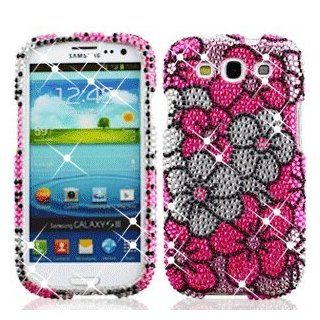 Samsung Galaxy S 3 III / S3 / i9300 i 9300 Cell Phone Full Crystals Diamonds Bling Protective Case Cover Silver and Pink Floral Flowers Design Cell Phones & Accessories