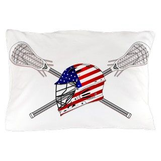 American Flag Lacrosse Helmet Pillow Case by DDBaz