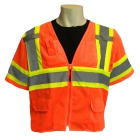Global Glove GLO 147 FrogWear Class 3 Front Mesh Safety Vest with 3M Reflective Fabric, 2X Large, Orange (Case of 50)