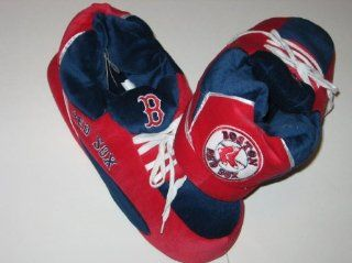 BOSTON RED SOX Team Logo Plush Fuzzy Non Skid Sneaker Slippers , Extra Large Sports & Outdoors
