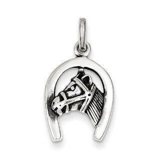 Sterling Silver Antiqued Horse in Horseshoe Charm 20mmx13mm Jewelry