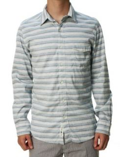 Lucky Brand Men's Button Down Long Sleeve Shirt Light Blue & White Striped Clothing