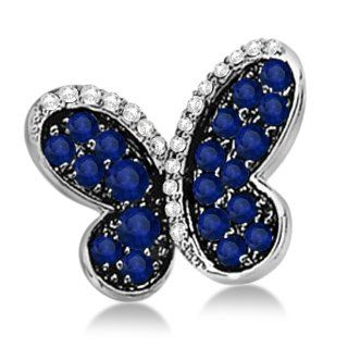 Blue Sapphire Gemstone and Diamond Butterfly Brooch Pin in 14K White Gold Rhodium Plated 0.73ctw Allurez Jewelry