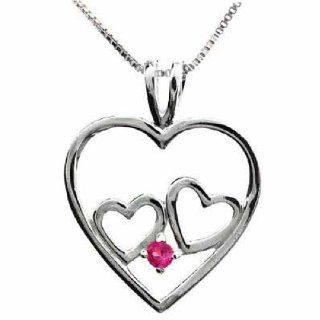 Sterling Silver Double Heart Created Pink Sapphire Heart Pendant Glitzs Jewelry