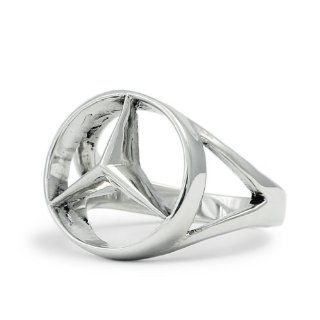 Silver Mercedes Benz Ring   CONCAVE HEXAGON Jewelry