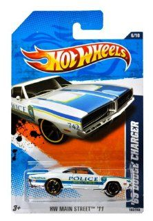 "Mattel Year 2010 Hot Wheels ""HW MAIN STREET"" Series Set (6/10) 164 Scale Die Cast Car (166/244)   Ocala Florida Police White Muscle Car '69 DODGE CHARGER (T9873)"