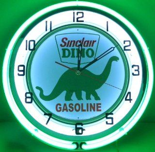 "SINCLAIR DINO 18"" DUAL NEON LIGHT WALL CLOCK GASOLINE GAS FUEL PUMP OIL SIGN GREEN"