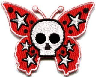 Butterfly Skull Horror Goth Emo Punk Biker Applique Iron on Patch New S 182