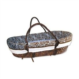 Sweet Safari Blue 4 Piece Moses Basket Set by Trend Lab   Animal Print Baby Baskets   Moses Baskets