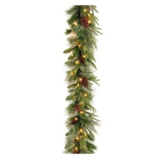 9 ft. Feel Real Colonial Pre Lit Garland with Berries and Pine Cones   Christmas Garland