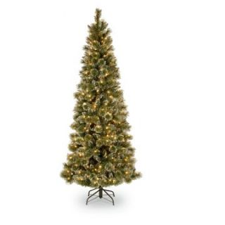 7.5 ft. Glittery Bristle Pine Hinged Pre Lit LED Christmas Tree   Christmas Trees