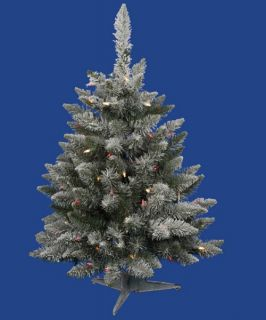 Vickerman 3 ft. Flocked Sugar Pine Dura Lit Christmas Tree   Christmas Trees