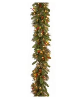 9 ft. Wintry Pine Pre Lit Garland with Pine Cones and Red Berries   Christmas Garland