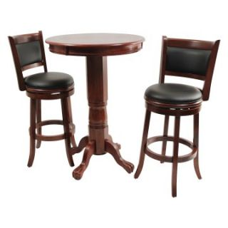 Boraam Augusta 3 Piece Pub Table Set   Dark Cherry   Pub Tables