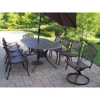 Oakland Living Mississippi Cast Aluminum 82 x 42 in. Oval Patio Dining Set with Swivel Chairs & Tilting Umbrella with Stand   Seats 8   Patio Dining Sets