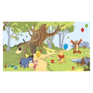 Pooh and Friends Chair Rail Prepasted Mural 6 x 10.5 ft.   Kids and Nursery Wall Art