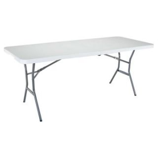 Lifetime 6 ft. Rectangle Commercial Fold In Half Table   White   Banquet Tables