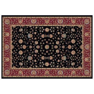 Dynamic Rugs Radiance Collection 47 x 24 Hearth Rug Black Floral   Hearth Rugs