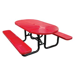 Oval Perforated Metal Commercial Grade Picnic Table   Picnic Tables