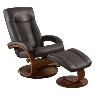 MAC Motion Oslo Collection Shiatsu Massage Bonded Leather Swivel Recliner with Ottoman   Palace Hickory Brown   Home Theater Seating