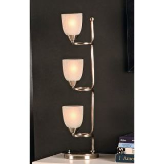 Celinda M1450/123 Three Frosted Glass Shade Metal Table Lamp   Table Lamps