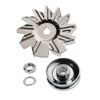Racing Power Chrome Plated Alternator Fan Pulley Set