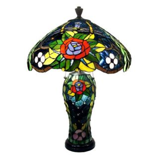 Tiffany Style Rose Double Lite Dragonfly Lamp   Tiffany Table Lamps