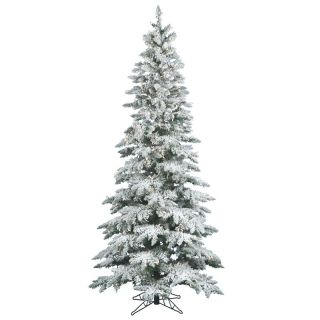 Flocked Utica Slim Pre lit Christmas Tree   Christmas Trees