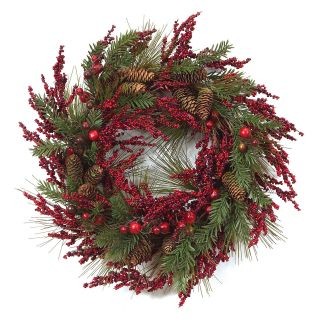 Melrose International 22 in. Mixed Berry and Cone Wreath   Christmas Wreaths