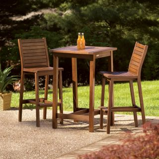 Oxford Garden Dartmoor 28 in. Square Bar Height Patio Dining Table Set   Patio Dining Sets