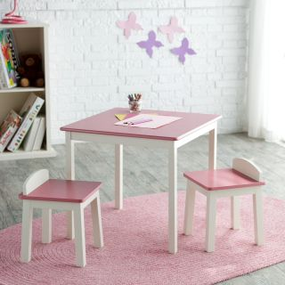Lipper Childrens Pink & Antique White Table and 2 Stool Set   Activity Tables