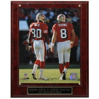 San Francisco 49ers #8 Steve Young and #80 Jerry Rice 10.5 x 13 Player Plaque