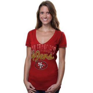 San Francisco 49ers Womens Baby Jersey V Neck T Shirt   Scarlet