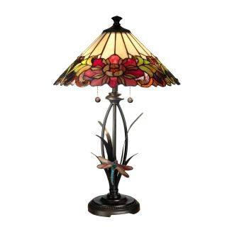 Dale Tiffany Floral with Dragonfly Tiffany Table Lamp   Tiffany Table Lamps