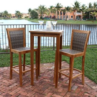 Panama Jack Leeward Islands 3 piece Bar Height Pub Table Set with Barstools   Natural Teak with Viro Wicker   Outdoor Bistro Sets