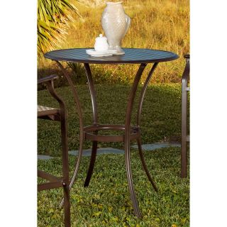 Panama Jack Island Breeze Slatted Aluminum 36 in. Round Patio Pub Table   Espresso   Patio Tables