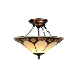 Dale Tiffany Crystal Pebble Stone Flush Mount   16W in. Antique Bronze   Tiffany Ceiling Lighting