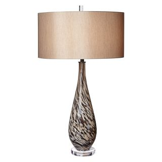 Pacific Coast Lighting Mocha Swirl Art Glass Table Lamp   Table Lamps