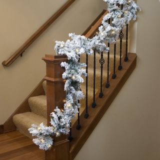 12 in. x 9 ft. Flocked Alaskan Pre lit Garland   Christmas Garland