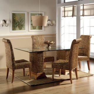 Hospitality Rattan Sea Breeze Indoor 6 Piece Seagrass 48 in. Dining Set   Natural   Indoor Wicker Furniture