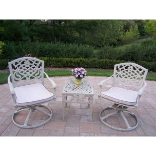 Oakland Living Mississippi Cast Aluminum Swivel Rocker Set   Beach Sand   Outdoor Rocking Chairs