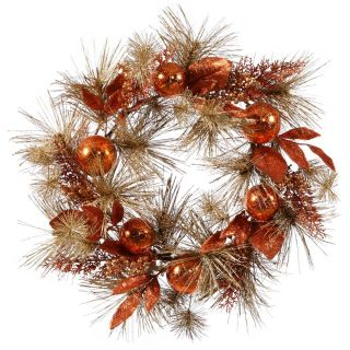 24 in. Copper Berry Mix Pine Wreath   Christmas Wreaths