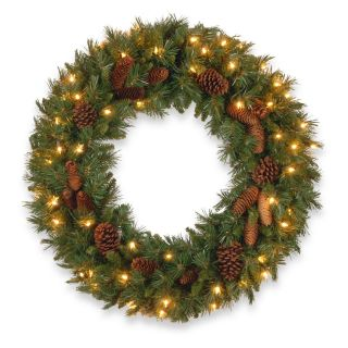 30 in. Pine Cone Pre Lit Christmas Wreath   Christmas Wreaths