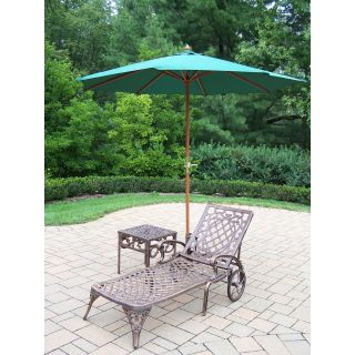 Oakland Living Mississippi Cast Aluminum Chaise Lounge with Side Table & Umbrella with Stand   Outdoor Chaise Lounges