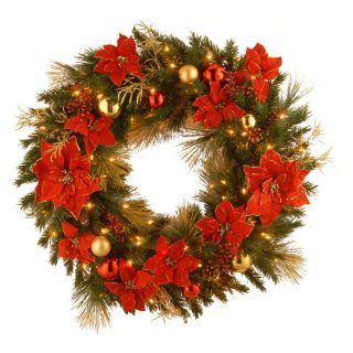 36 in. Decorative Collection Home Spun Pre Lit Christmas Wreath   Christmas Wreaths