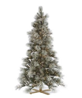 7 ft. Norway Pine Flocked Pre Lit LED Christmas Tree   Christmas Trees
