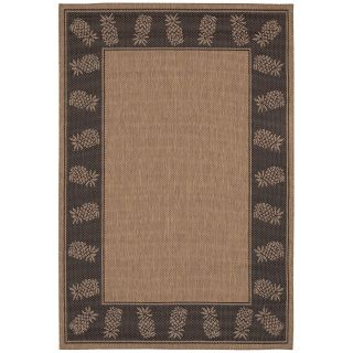 Couristan Recife Tropics Indoor/Outdoor Area Rug   Cocoa/Black   Area Rugs